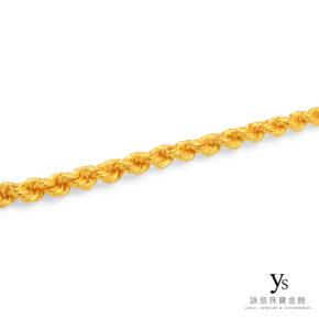 黃金項鍊-手工麻花繩索鍊