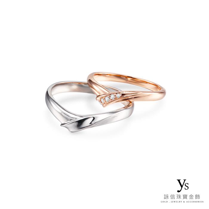 結婚對戒-日系窄版玫瑰金對戒、鉑金對戒