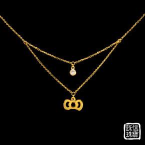 黃金項鍊-蝴蝶結雙墜項鍊