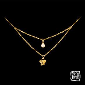 金飾項鍊-蝴蝶雙墜項鍊