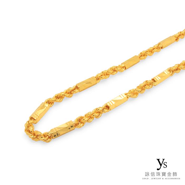 黃金項鍊-手工六角麻花項鍊