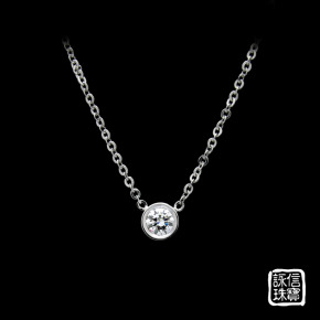訂做珠寶-白金單鑽項鍊