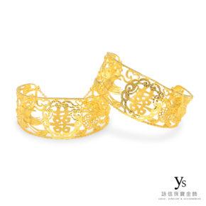 黃金手鐲-立體浮雕黃金龍鳳鐲