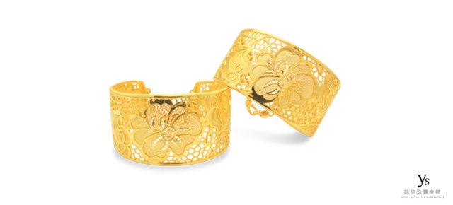 結婚金飾系列-花開富貴黃金手環