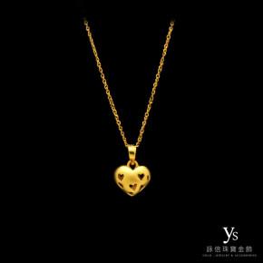 黃金墜子-簍空愛心墜