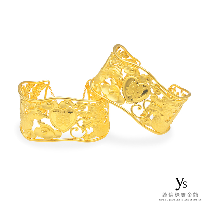 黃金龍鳳鐲-龍鳳之喜