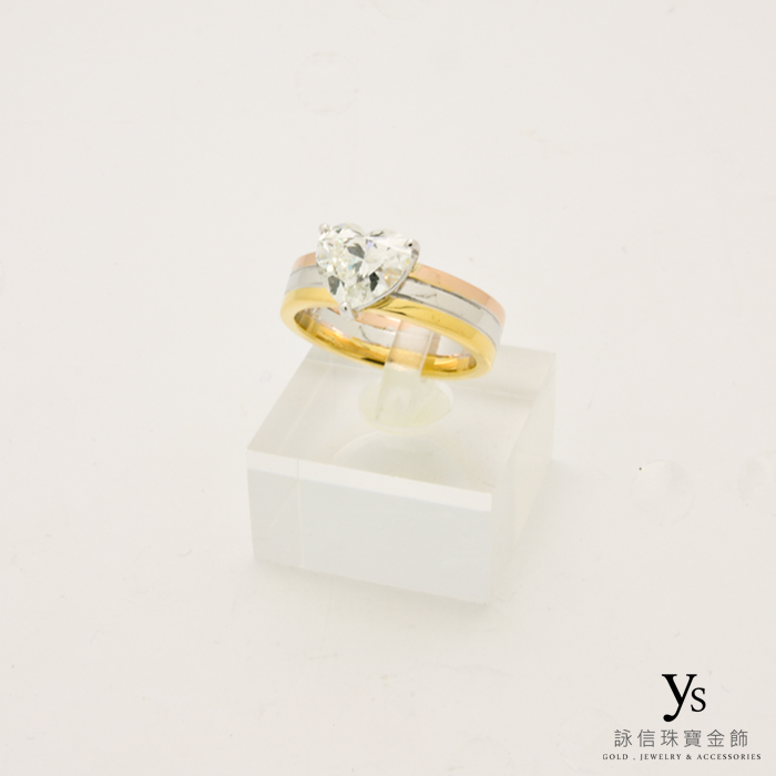 三色金鑽石戒