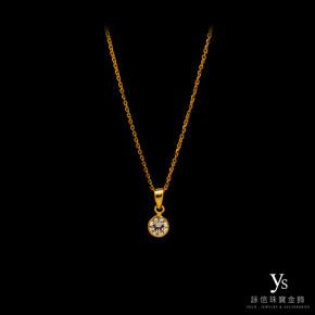 黃金墜子-單鑽鑽石墜
