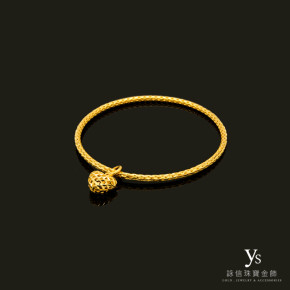 黃金手環-愛心刻花手環