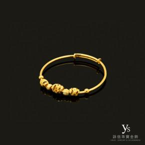 彌月金飾-金珠純金手環