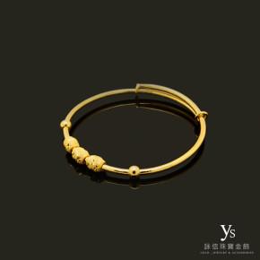 黃金手環-轉運珠純金手環