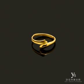 黃金戒指-線條純金尾戒