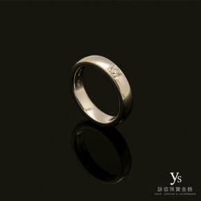 鉑金戒指-寬版單鑽鉑金戒