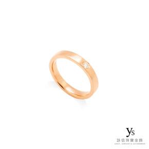 玫瑰金戒指-平面單鑽戒指