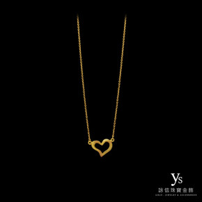 黃金項鍊-流線愛心小套鍊