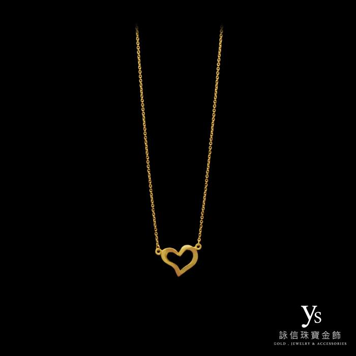 黃金項鍊-流線愛心黃金小套鍊