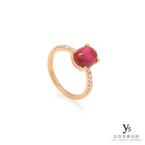 戒指訂做-紅寶石玫瑰金鑽戒