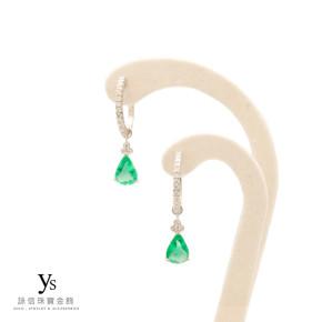 珠寶訂做-祖母綠鑽石耳環