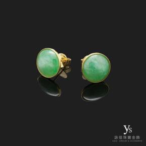 珠寶訂做-緬甸玉黃k金耳環