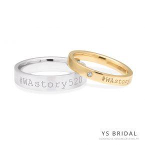 客製化結婚對戒-雷射黃K金鉑金對戒