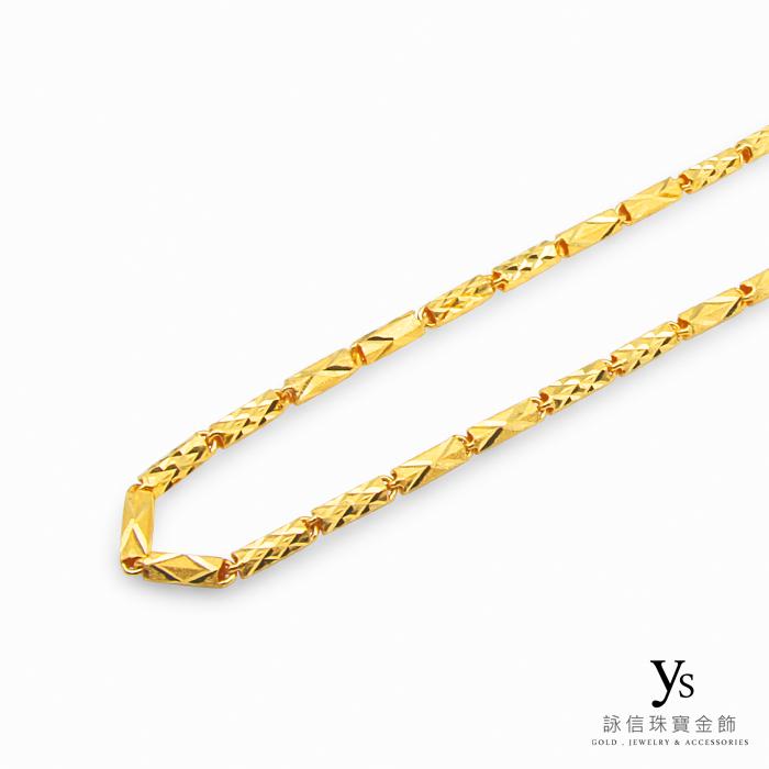 男生黃金項鏈-電刻管狀黃金項鍊