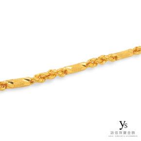 黃金項鍊-手工六角麻花(鑽沙)