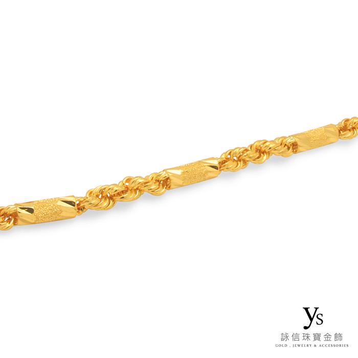 男生黃金項鍊-手工六角麻花項鍊