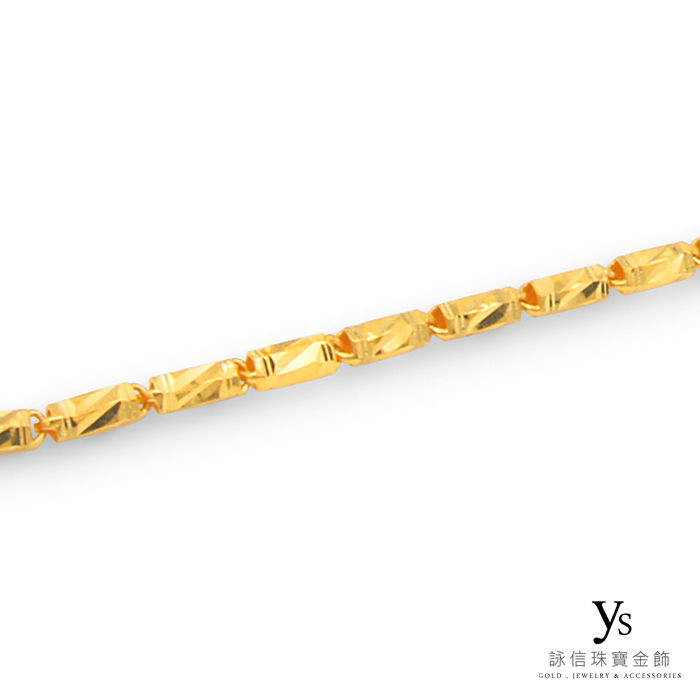 男生黃金項鍊-六角刻花金鍊
