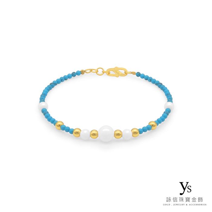 黃金手鍊-綠松石黃金串珠手鍊