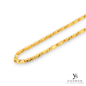 黃金項鍊-六角刻花金鍊