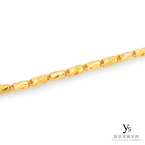 男生黃金項鍊-六角刻花鑽沙項鍊