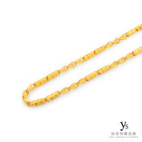 男生黃金項鍊-三角和六角刻花金鍊