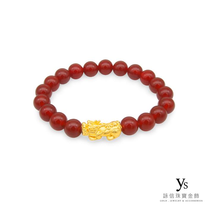 【女款】黃金貔貅手鍊-紅瑪瑙