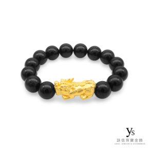 黃金貔貅手珠-黑瑪瑙