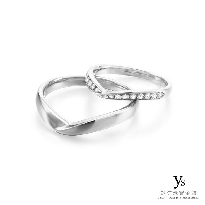 結婚對戒-極簡V字線條鉑金對戒