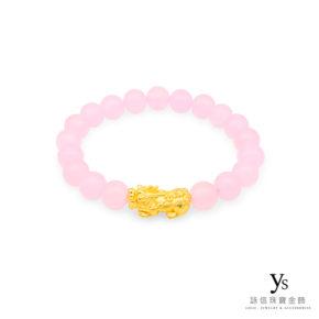 黃金貔貅手珠-粉紅瑪瑙