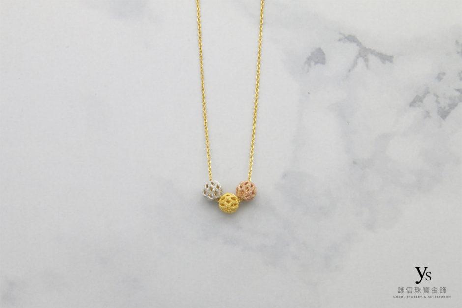 女生黃金項鍊-三色金珠黃金項鍊4214