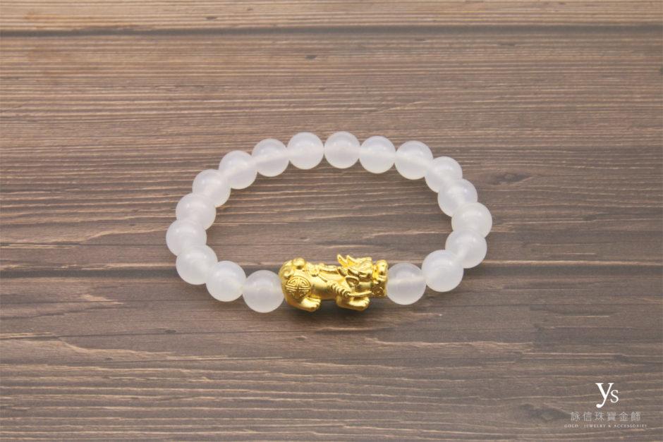 黃金貔貅白瑪瑙手鏈85177