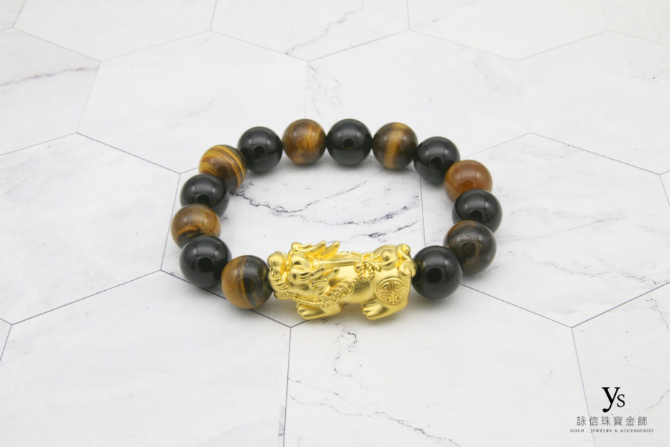 黃金貔貅虎眼石手珠85173