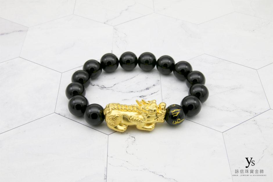 黃金貔貅黑瑪瑙手珠85174