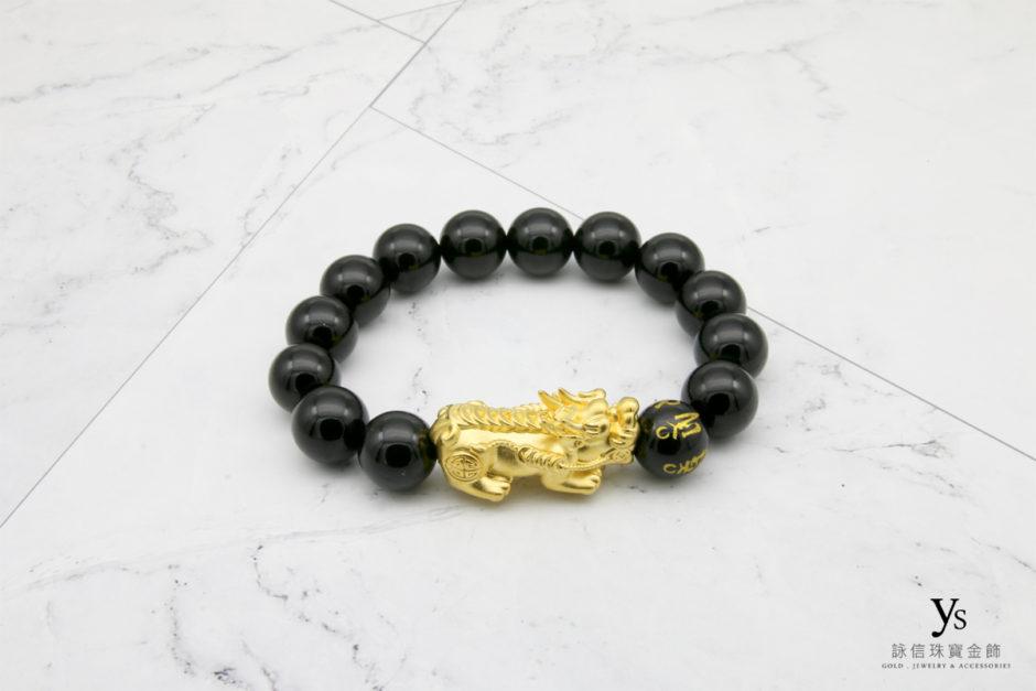 黃金貔貅黑瑪瑙手鏈85176
