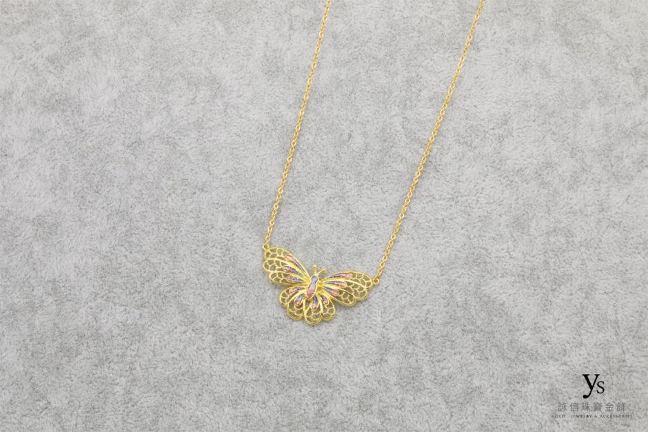 女生蝴蝶黃金項鍊1804112