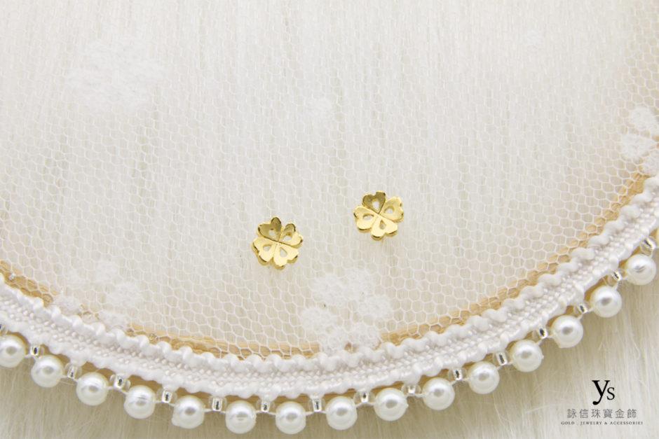 小花黃金耳環8621