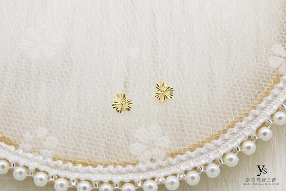 小花黃金耳環8628