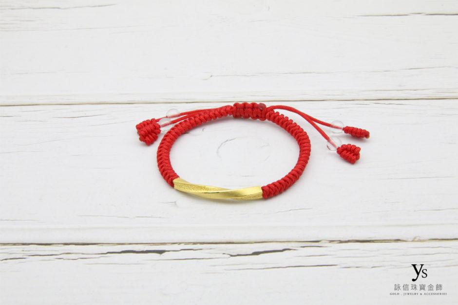 彌月金飾-紅繩黃金手鏈85162