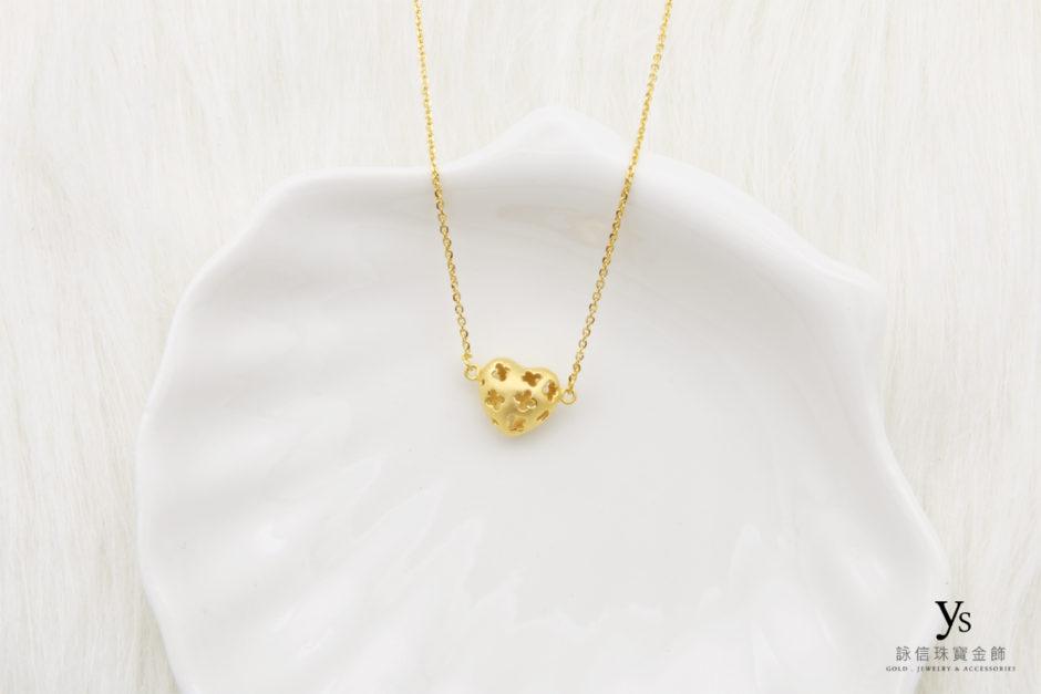 愛心黃金項鍊8632