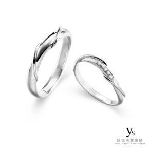 鉑金對戒-扭轉線條結婚對戒