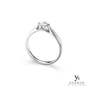 鉑金鑽戒-流線四爪求婚鑽戒