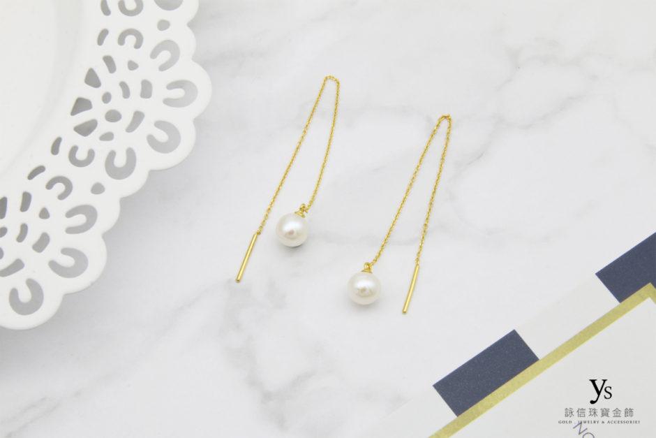 珍珠黃金耳環85202