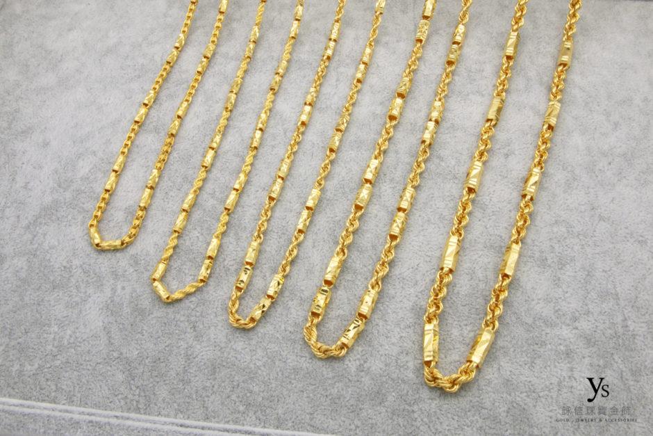 六角麻花黃金項鍊